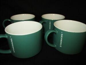 "STARBUCKS Green/White 3"" (2014) 12 Oz. Coffee/Tea/Cocoa Stackable Mug Set of 4"