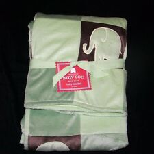 Amy Coe Green Brown Mod Elephant Baby Blanket Patchwork Squares NEW WITH TAG