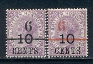 BRITISH HONDURAS 33-34 SG43-44 MH 1891 6c on 10c on 4p vio QVIC set of 2 Cat$6