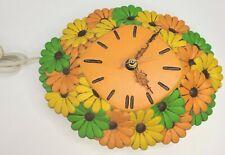 Vtg Daisy Wall Clock Atlantic Mold Floral Kitschy Ceramic Orange Green Yellow