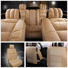 1 Set Beige Winter Vehicle Interior Accessories 3D Plush Seat Covers Cushion Mat