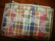 Coach pink Plaid purse Gold Wristlet wallet Madras Sequined keychain pocket book