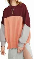 1C38 Size M NEW Women's Free People Easy Street Colorblock Sweater-in orange