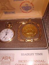 1776 - 1976  NOS GOLD TONE BRADLEY TIME: VINTAGE BICENTENNIAL POCKET WATCH