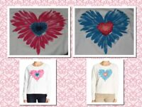 IVORY OR WHITE Women's Life is Good Watercolor Daisy Heart Crew Neck Sweatshirt