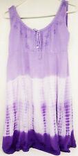Raya Sun Purple & White Tie Dye Sun Dress Embroidered Chest & Hem Size XL