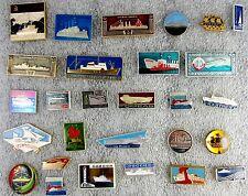 MEGA LOT OF 28 BADGES SOVIET USSR RUSSIAN SHIPS & STEAMERS 1970's PROMO