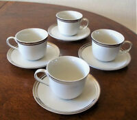 NEAR MINT LOT--4 ROYAL DOULTON PURE PLATINUM CUP & SAUCER SETS - SHIPS FREE