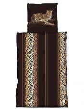 2 tlg Flausch Bettwäsche 135x200 cm Winter Leopard braun Thermofleece