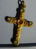 medaille religieuse Vintage croix émail Enamel Blue Cross 4,7 x 3.2 cm  MR 0202