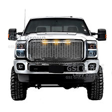11-16 Ford Super Duty Raptor Style Chrome Mesh Grille+Shell+Amber 3x LED light