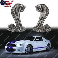 2x Cobra Snake Emblem Chrome Metal Door Fender Badge Stickers for Ford Mustang