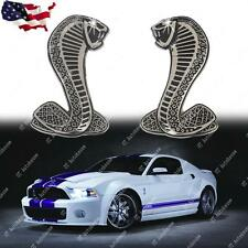 2x Cobra Snake Emblem Chrome Metal Door Fender Badge Stickers for Ford Mustang