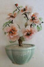 Vintage Jade Tree Peking Pink & White Glass Flowers Celadon Pot