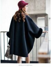 Elegant Double sided with thick 100% wool Fox Fur Shawl/Poncho/Coat/cape /black