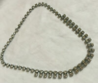 VINTAGE Sparkling Clear Rhinestone Diamante Necklace Double Row Front Drops #2