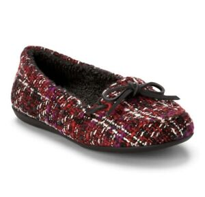Vionic Slippers Womens 6.5 Black Red Cozy Ida Moccasin Bow Slip On Ladies