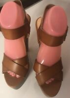 ShoeDazzle Womens Brown Leather Sandals Crisscross Strap Chunky Heels Size 8.5