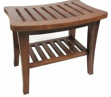 Teak Shower Bench Shelf Bath Seat Chair Wood Spa Indoor Outdoor Salon Bathroom
