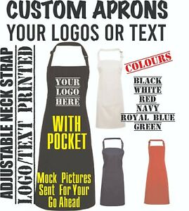 Text Logo Aprons Custom Printed Personalised Info Apron Kitchen Chef Staff Use