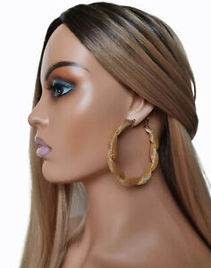 7cm chunky GOLD tone twisted thick MESH design large wide round hoop earrings