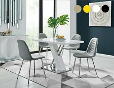 SORRENTO White High Gloss Chrome Dining Table Set & 4 Leather Chairs Seater
