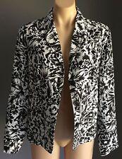 Unique Denim MILLERS Black & White Linen Blend Floral Print Jacket Size 12