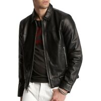 John Varvatos Star USA Men's Marley Zip Front Smooth Sheep Leather Jacket Black