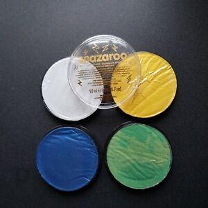 SNAZAROO METALLIC FACE AND BODY PAINT 18ML POT GOLD SILVER BLUE GREEN