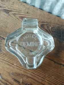 Antique Hotel Deming Clear Glass Cigar Ashtray Terre Haute Indiana IN Luxury