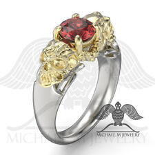 MichaelMJewelry - Red stone Skull 14k Yellow Gold & .925 Sterling Silver ring