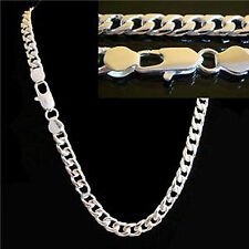 "24"" L 8mm W Silver Plated Curb Chain Necklace Men's Christmas Birthday Gift"