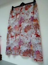 Ladies Damart White Mix Floral Below Knee Length Lined Summer Skirt 18/20, Bnwot