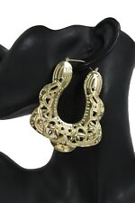 Women Fashion Earrings Gold Metal Chunky Thick Bamboo Ethnic Style Hoop Square