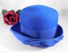 Vintage Blue 100% Wool Brim Hat Ribbon Band Neumann Endler Sally Jacque