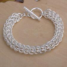 "Cool 925Sterling Silver Jewelry Full Circle Women Man Bracelet 10Mm 8"" Hy016"