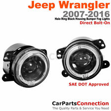 4 In Halo Projector Fog Light Black Housing Clear Lens For 07-16 Jeep Wrangler