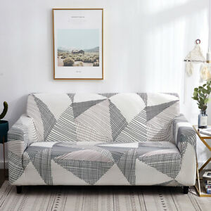 Sofa Cover for Living Room Stretch Spandex Couch Cover Geometric Solid Slipcover