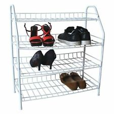 New 4 Tier Wire Shoe Rack Boots Storage Stand Organizer Shelf Boot Tidy Holder