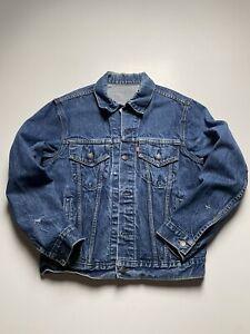 Vintage Levis Denim Jean Trucker Jacket Dark Wash Size 40 R Small Made in USA