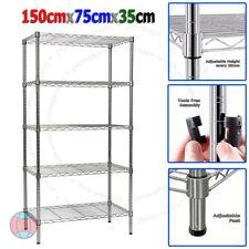 New 150X75X35cm Real Chrome Wire Heavy Duty Metal Steel Shelving Shelf Racks