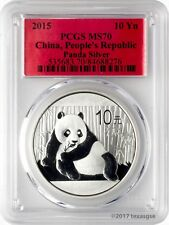 2015 10 Yuan China Silver Panda Coin 1oz .999 Silver PCGS MS70 - Red Label