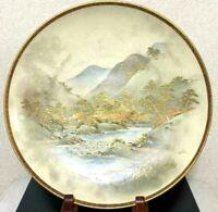 Satsuma Porcelain Pottery Meiji Plate Gold Sansui Japanese Old Antique Japan F/S
