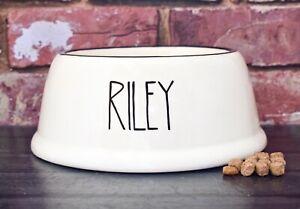 Extra small slanted dog bowl hand painted personalised ceramic cat bowl cat dish