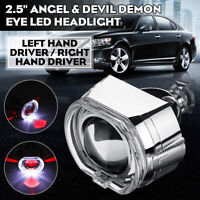 "2.5"" LED Angel Eye HID Bi-Xenon Projector Lens Headlight Set Red Devil Demon Eye"