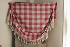 Antique French Vichy check Ciel de lit topper textile w/ trim handmade PINK