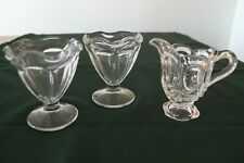 """Vintage creamer (3.5"""" high) and two ice cream sundae glasses (3.75"""" high-Mexico)"""
