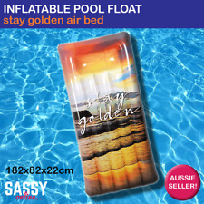 Inflatable Pool Float Stay Golden Giant Rectangle Air Mat Jumbo Pool Bed Lounge