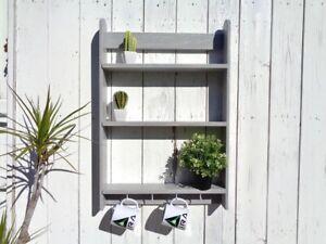 Mensola moderna tre ripiani legno con ganci Scaffale per arredo casa Wall shelf