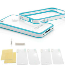 IPHONE 4 4S Protección Set TPU Funda Carcasa Estuche Diseño Lámina Blanco Claro